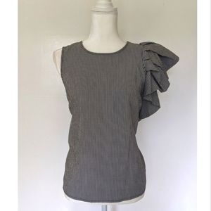 Who What Wear one shoulder ruffle striped top